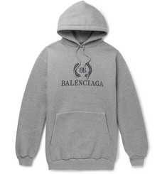 Balenciaga - Oversized Logo-Print Fleece-Back Cotton-Blend Jersey Hoodie