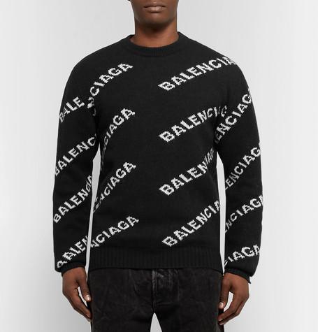 de04c5f06f2729 Balenciaga Women's Black And White Logo-Intarsia Knitted Jumper ...