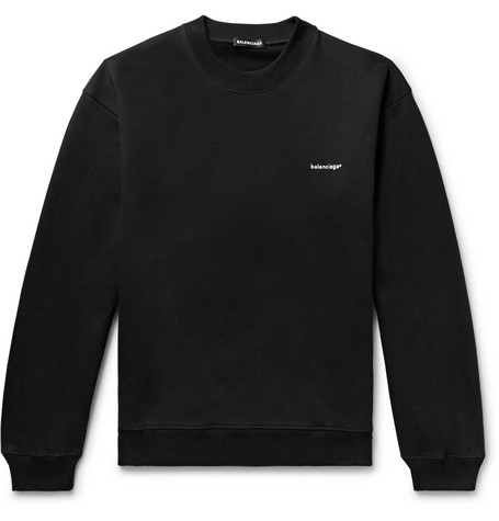 Logo Print Loopback Cotton Jersey Sweatshirt by Balenciaga
