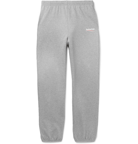 Logo Print Mélange Loopback Cotton Jersey Sweatpants by Balenciaga