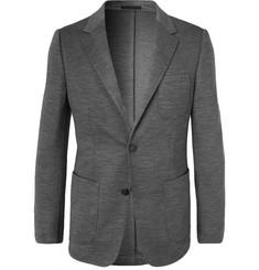 Grey Slim-fit Techmerino Wool-jersey Blazer - Gray