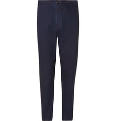 Ermenegildo Zegna Indigo Tapered Garment-Dyed Cotton Drawstring Suit Trousers