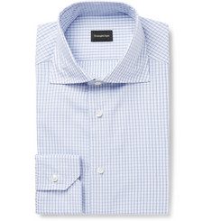 Ermenegildo Zegna Light-Blue Checked Cotton Shirt