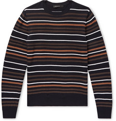 Ermenegildo Zegna Intarsia Striped Wool and Silk-Blend Sweater