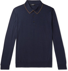 Ermenegildo Zegna Contrast-Tipped Wool and Silk-Blend Polo Shirt