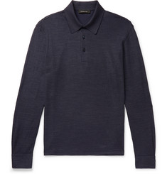 Ermenegildo Zegna Textured Cotton and Silk-Blend Polo Shirt