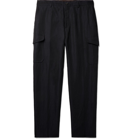 501f82b12521 Ermenegildo ZegnaNavy Tapered Wool and Linen-Blend Cargo Trousers