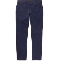 Ermenegildo Zegna Navy Slim-Fit Garment-Dyed Cotton-Blend Trousers
