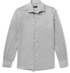 Ermenegildo Zegna Mélange Cotton and Linen-Blend Oxford Shirt