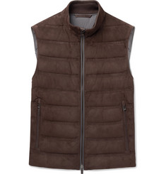 Ermenegildo Zegna Quilted Suede and Cotton Down Gilet