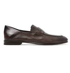 Ermenegildo Zegna L'Asola Collapsible-Heel Textured-Leather Penny Loafers