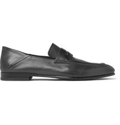 Ermenegildo Zegna Asola Collapsible-Heel Textured-Leather Penny Loafers