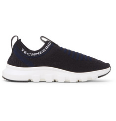 Ermenegildo Zegna Leather and TECHMERINO Wool-Mesh Slip-On Sneakers