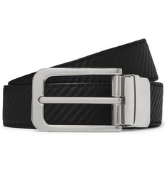 Dunhill 3cm Black and Brown Reversible Textured-Leather Belt