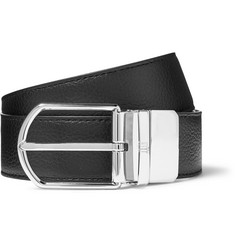 Dunhill - 3.5cm Black and Midnight-Blue Reversible Full-Grain Leather Belt
