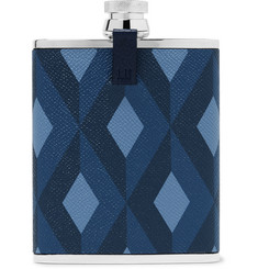 Dunhill - 6oz Cadogan Printed Pebble-Grain Leather and Stainless Steel Flask