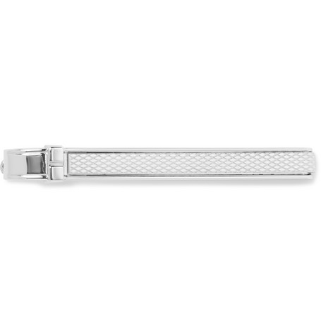 Barley Engine Turned Sterling Silver Tie Clip by Dunhill
