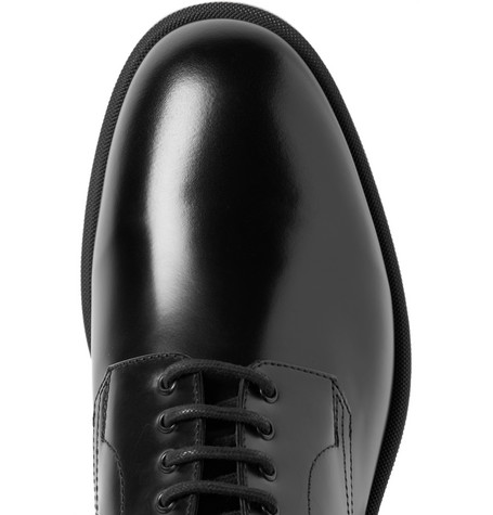 College Polished-leather Derby Shoes - Black