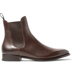 Burnished-leather Chelsea Boots - Dark brown