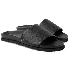 Dunhill Cross-Grain Leather Slides