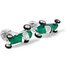 Deakin & Francis - Racing Car Sterling Silver and Enamel Cufflinks