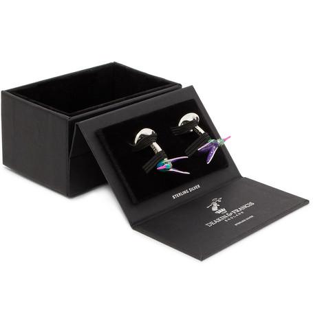 Hummingbird Sterling Silver, Sapphire And Enamel Cufflinks by Deakin & Francis