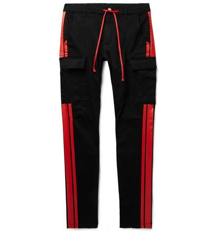 AMIRI | AMIRI - Stack Track Skinny-fit Stretch Cotton-twill Trousers - Black | Goxip