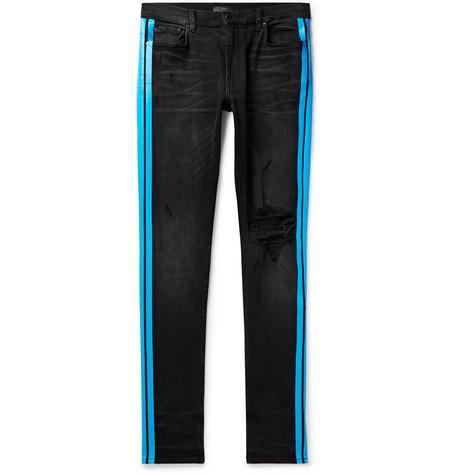 Broken Track Skinny Fit Striped Distressed Stretch Denim Jeans by Amiri
