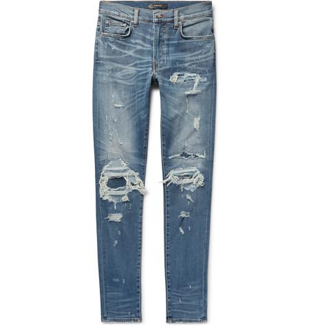 AMIRI | AMIRI - Skinny-fit Distressed Stretch-denim Jeans - Mid denim | Goxip