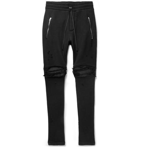 AMIRI | AMIRI - Mx1 Slim-fit Tapered Panelled Loopback Cotton-jersey Biker Sweatpants - Black | Goxip