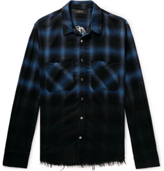 AMIRI Appliquéd Distressed Checked Cotton-Flannel Shirt