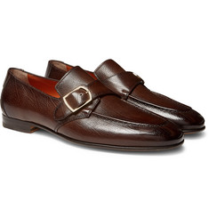 Santoni - Pebble-Grain Leather Monk-Strap Loafers