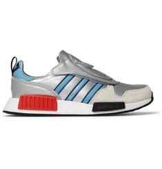 adidas Originals Micro_R1 Suede-Trimmed Metallic Leather Sneakers