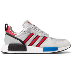 adidas Originals Rising Star_R1 Metallic Leather and Suede Sneakers