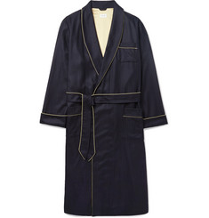 Derek Rose Duke Silk-Trimmed Herringbone Cashmere Robe