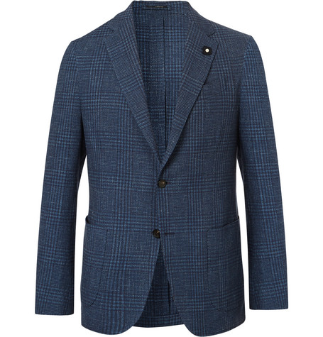 LARDINI | Lardini - Navy Slim-fit Prince Of Wales Checked Cotton And Linen-blend Blazer - Navy | Goxip