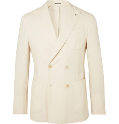 Lardini Beige Unstructured Double-Breasted Woven Blazer