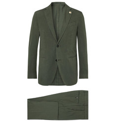 Lardini Olive Slim-Fit Stretch Cotton and Linen-Blend Suit