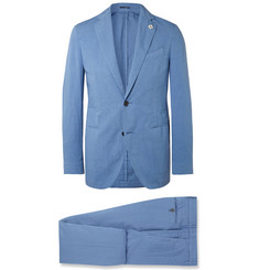 Lardini Blue Slim-Fit Stretch-Cotton and Linen-Blend Suit