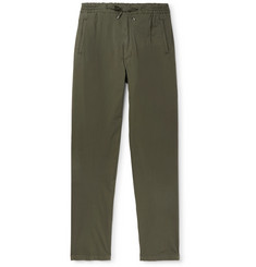Lardini Pleated Stretch-Cotton Drawstring Trousers