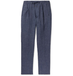 Lardini Tapered Pleated Pinstriped Linen Drawstring Trousers