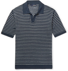 Lardini - Slim-Fit Striped Linen Polo Shirt