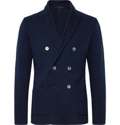 Lardini - Navy Unstructured Double-Breasted Cotton Blazer