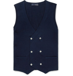 Lardini Slim-Fit Double-Breasted Knitted Cotton Sweater Vest