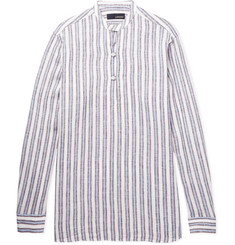 Lardini - Grandad-Collar Striped Linen Half-Placket Shirt