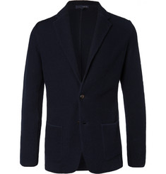 Lardini Midnight-Blue Slim-Fit Textured-Cotton Blazer