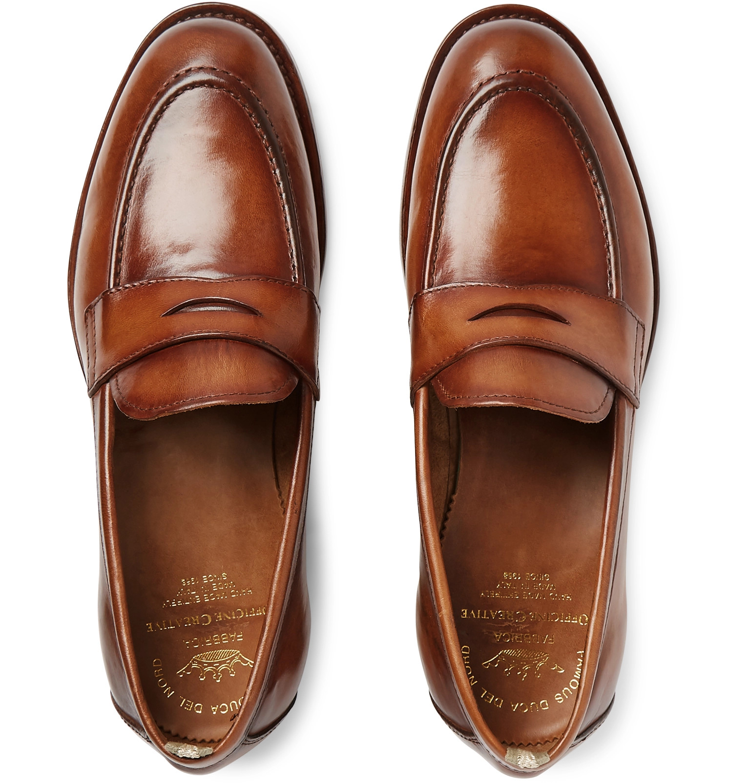 7f58918a0d7 Officine CreativeIvy Polished-Leather Penny Loafers. £435.05   Approx.  ₩651