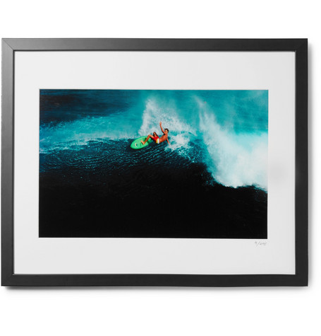 "SONIC EDITIONS Framed 1981 Laird Hamilton In Kauai Print, 16"" X 20"" in Black"
