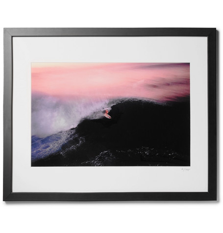 "Framed 1990 Walter Iooss Surfer In Pipeline Print, 16"" X 20"" by Sonic Editions"