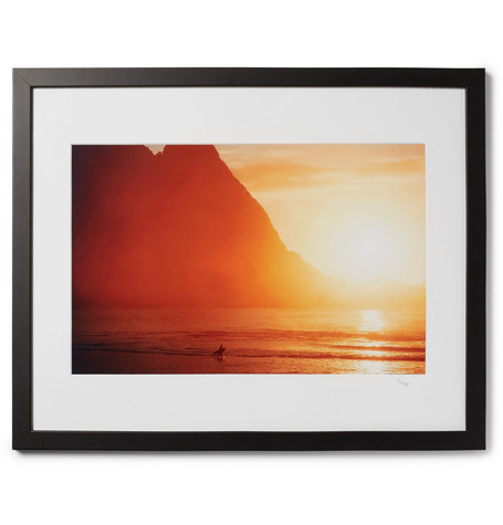 "SONIC EDITIONS Framed 1976 Walter Iooss Sunset Kauai Print, 17"" X 21"" in Black"